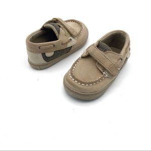 Sperry Top Sider Tan Leather Baby Boat Shoes 4M